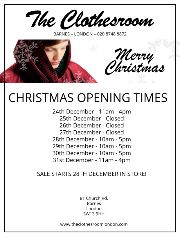 The-Clothes-Room-Christmas-Opening-Times-Poster